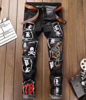 Men embroidery denim jeans punk rock Jeans Pants Patchwork skull pants trousers