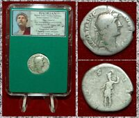 Ancient Roman Empire Coin HADRIAN Roma Holding Victory Reverse Silver Denarius