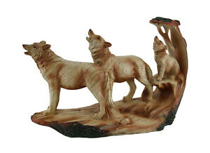 Zeckos Howling Wolf Family Carved Wood Look Resin Statue