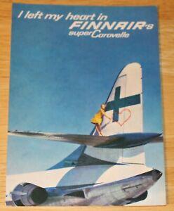 Vintage Finnair (Finland) Sud Caravelle Airline Issued Postcard