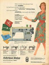 """Publicité 1959  GAMMA machine à coudre """"ZIG ZAG"""" """"collection"""" fabrique union"""