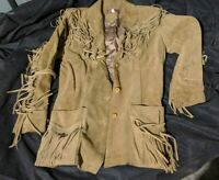 RARE Sasson Vintage Camel Suede Leather Fringed Western Jacket Coat Sz 11/12
