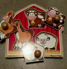 Melissa & Doug Crafted by hand barn yard animals wood puzzle jumbo knob puzzles