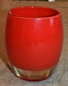 """Glassybaby 'PRETTY"""" RED 342 Hand Blown Glass Candle Votive Hard to find  EUC"""