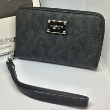 Michael Kors Essential Zip Around Wallet Purse, Grey Monogram