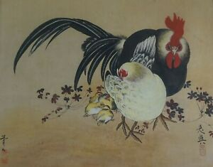 Large Korean MinHwa Folk Hand Painting Chicken Family Signed Framed
