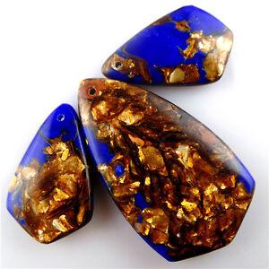 3pcs/lot blue Lapis Lazuli &Gold Copper Bornite stone  Pendant Bead 46*26*6mm