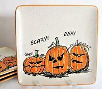 "4x Halloween SCARY EEEK Jack-O-Lantern Orange Pumpkins Salad Plates Stoneware 9"""