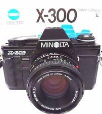 Cámara SLR Minolta (Negro) X-300 Con Lente Minolta Md 50mm f/1.7 Cámara + Estuche