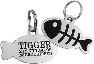 Personalized ID Tags Cat Tag Puppy Kitten Name Custom Engraved Steel Brass