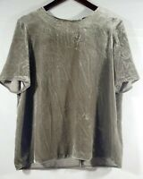 Vince. Size Medium Top Taupe Gray Green  velvet blouse boxy short sleeve blouse