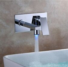 Basin Faucet Bathroom Waterfall LED Brass Chrome Mixer Tap Wall Mounted