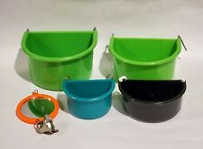 Bird Cage Hook Bowls Lot of 5 Bird Cage Accessories Bowls and Mirror Bird Cage
