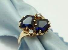 Elegant 10K Karat Yellow Gold Ladies Ring With Synthetic Sapphires & Cz's