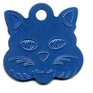 Aluminium Alloy Metal Cat Face, Cat Dog Id Pet Tags Disc 22mm Various Colours