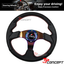 320mm JDM Steering Wheel Black Carbon Fiber NEO Chrome Spokes Racing TRD Emblem