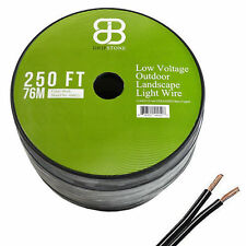 250ft Low Voltage 12/2 Outdoor Lighting Wire COPPER Landscape Cable 2 Core 12AWG