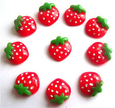 GORGEOUS 10 STRAWBERRY FLATBACK CABOUCHONS  - FAST FREE SHIPPING