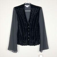 Vtg J.R. Nites By Caliendo Black Velvet Sheer Sleeve Evening Jacket Top Women 10