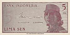 Indonesia P-91a 1964 Note 5 sen World Paper Money Banknote incirculated CA