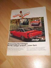 1968 69 Dodge Dart Swinger - Vintage Advertisement Magazine Ad FREE SHIPPING