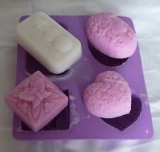 Soap Set 5 - Butterfly Cameo Heart Silicone Soap Mould Candle Mold Craft Wax
