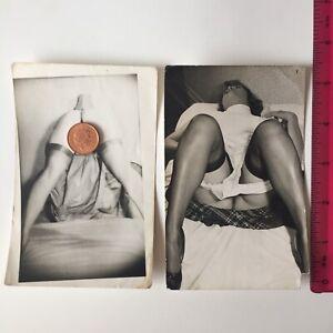 Two Original Vintage Up Skirt Photos 1950's 1960s Nude 3'1/2 x 5'1/2 Erotic Pose