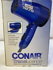 Conair 1875 Watt Travel Dryer Translucence Turbo Hair Dryer; Blue