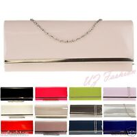 BNWT RETRO PATENT WEDDING LADIES PARTY PROM EVENING CLUTCH HAND BAG PURSE