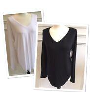 Old Navy Luxe V-Neck Long Sleeve Curved Hem Shirt Size L, XL, 2XL (XXL) - NEW!