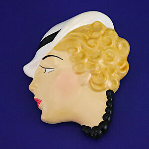 """Vintage Art Deco Style Lady Hand Painted Wall Mask - 17.5cm/6.9"""" High"""