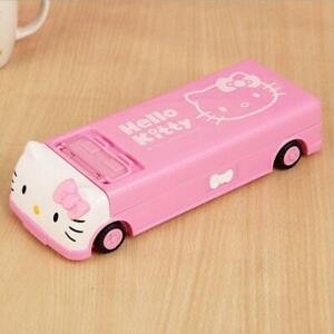 Cute Pink Hello Kitty Pencil Case Bus Car Style Multi-function Pen Box