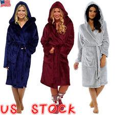 Womens Ladies Dressing Gown Hooded Fleece Fluffy Soft Warm Bath Robe Nightwear