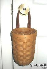 Longaberger 2002 Small Gatehouse Basket & Protector - Hanging - Warm Brown