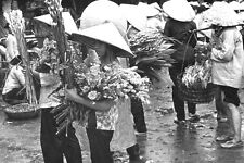 Vietnam 1971- Women Sellng Flowers At The Cholon Market In The Rain