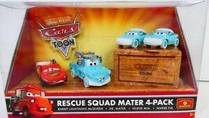 "Disney Pixar Cars Toon ""Rescue Squad Mater"" 4-Pack (Rare) Brand New & Sealed!"