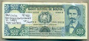 BOLIVIA 100 NOTES BUNDLE 500 PESOS BOLIVIANOS DECREE 1981 P 166 VF/AXF