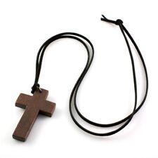 Womens Vintage Cord Unisex Long DESIGNER Wooden Cross Pendants Necklace Brown One
