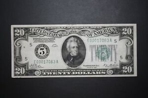 1928 $20 Dollar Bill Low Serial Number 5 digit out of 4,119,600 Notes Printed!
