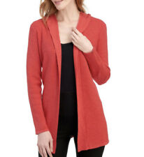 NWT Cyrus Open Front Hooded Waffle Knit Cardigan Womens M Red