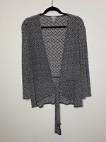 Chico's Travelers 3 Black Cardigan Sweater Geometric Tie Front Long Sleeve