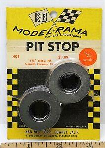 "1965 K&B Aurora 1:24 1:25 Slot Car Pit Stop Parts 1 3/8"" GERMAN SLICK TIRES #408"