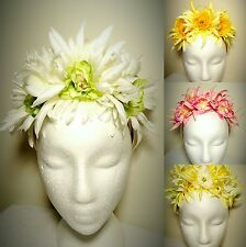 Pink Yellow White Green Fascinator Floral Crown Headband Melbourne Cup Races