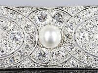 ART DECO Brosche Atemberaubende 5,5ct Diamanten & Orient Perle – Platin um 1920