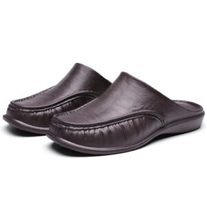 Men's Leather Slippers Slip On Shoes Summer Mules Scuff Beach Moccasin Slouch