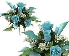 "17"" Mixed Aqua Bouquet Poly Silk Wedding Home Office Decor Craft Flower Leaf"