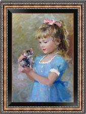 "Original Oil Painting art Impressionis Small girl and cat on canvas 24""X36"""