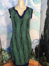 LIZ LANGE XS BLUE/GREEN PRINT SPLIT NECK RUCHED SIDE SLEEVELESS BELOW KNEE DRESS