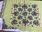 Vintage Strawberry Tablecloth 40s Simtex Bright Colors Crisp Square 46 x 51 in