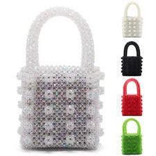 100% Handmade Womens Pearl Beaded Handbag Tote Weave Crystal Bag Lady Clutch Bag